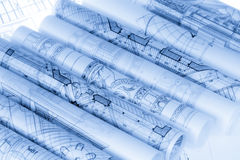 Rolls of architecture blueprints Stock Images