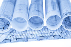 Rolls of architecture blueprints Royalty Free Stock Photography