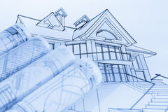 Rolls of architecture blueprints Royalty Free Stock Image