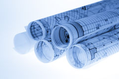 Rolls of architecture blueprints Royalty Free Stock Photos