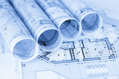 Rolls of architecture blueprints Royalty Free Stock Photo