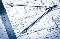 Rolls of architecture blueprints and house plans Royalty Free Stock Images