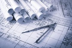 Rolls of architecture blueprints and house plans Stock Photography