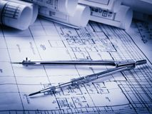 Rolls of architecture blueprints and house plans Royalty Free Stock Photography