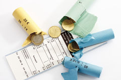 Rolls of assorted Euro coins Royalty Free Stock Image