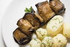Rolls of aubergines with potato Stock Photo