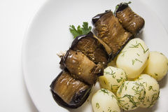 Rolls of aubergines with potato Royalty Free Stock Image