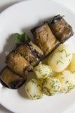 Rolls of aubergines with potato Stock Photos