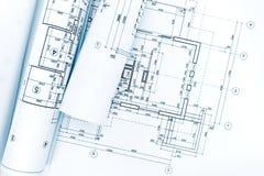 Rolls av arkitektoniska ritningar och tekniska teckningar på båge Royaltyfri Fotografi