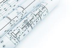 Rolls av arkitektoniska ritningar och tekniska teckningar på whit Royaltyfri Fotografi