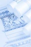 Rolls av arkitekturritning- & husplan Royaltyfri Bild