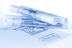 Rolls av arkitekturritningar Arkivbilder