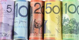 Rolls av australiska kontanta pengar Arkivfoton