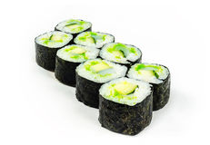 Rolls with avocado and fish. On a white background Stock Photos