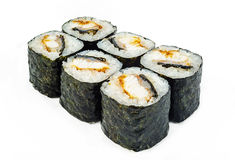 Rolls with baked tuna and seaweed. Tasty baked rolls with tuna and seaweed on white background Stock Photo