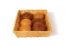 Rolls in the basket. There are six rolls in the basket Royalty Free Stock Photo