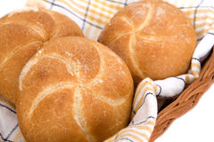 Rolls in basket. Fresh baked rolls in basket Stock Photo