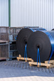 Rolls of black industrial plastic Royalty Free Stock Photography
