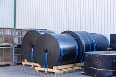 Rolls of black industrial plastic Stock Photography