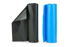 Rolls of blue and black plastic stock images