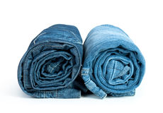 Rolls of Blue Jeans Stock Photography