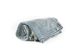Rolls of Blue Jeans isolated on white background Royalty Free Stock Image