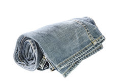 Rolls of Blue Jeans isolated on white background Royalty Free Stock Photos