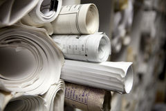 Rolls of Blueprints Stock Image