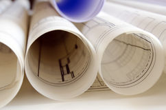 Rolls of blueprints Royalty Free Stock Images