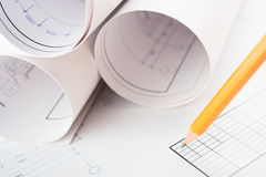 Rolls of Blueprints. And pencil. Architectural Concept Royalty Free Stock Photography