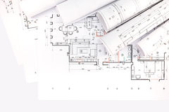Rolls of blueprints and architectural drawings Stock Images