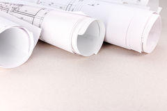Rolls of blueprints and architectural drawings Royalty Free Stock Photos