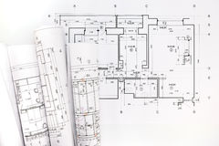 Rolls of blueprints and architectural project drawings Stock Photos