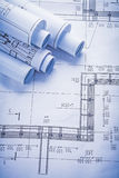 Rolls of blueprints with organized copyspace Stock Image