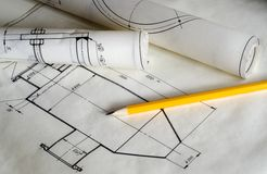 Rolls of blueprints Stock Photography