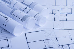 Rolls of Blueprints Royalty Free Stock Photography