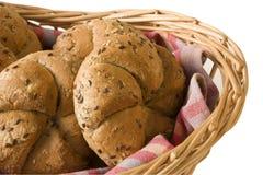 Rolls in bread basket. Wheaten rolls in bread basket Stock Photo