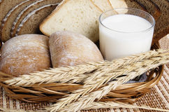 Rolls, bread and a glass of milk Royalty Free Stock Image