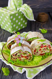 Rolls of bread with vegetables, cheese and sausage Stock Image