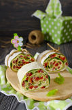 Rolls of bread with vegetables, cheese and sausage Stock Photography