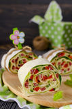 Rolls of bread with vegetables, cheese and sausage Royalty Free Stock Photography