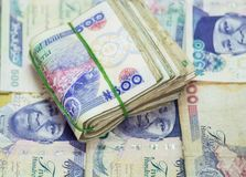 Rolls and Bundles of Naira Cash local currencies  stock photos