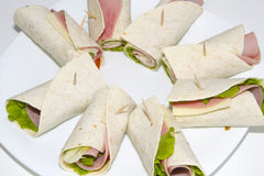 Rolls. Cake rolls york ham and lettuce Royalty Free Stock Images