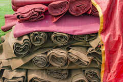 Rolls of canvas cloth. For covering the tent Royalty Free Stock Images
