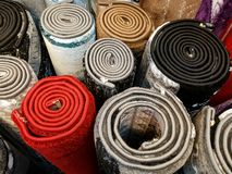 Rolls of carpet samples Stock Photos