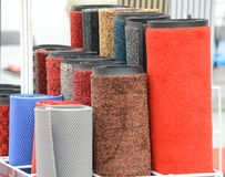carpet rolls. With different colors and different materials Stock Photos