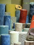 Rolls of carpets. In the shop royalty free stock photos