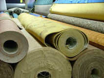 Rolls of carpets Royalty Free Stock Photos