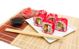 Rolls with caviar, soy sauce and pickled ginger Royalty Free Stock Photo
