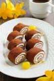 Rolls of chocolate pancakes Stock Photo